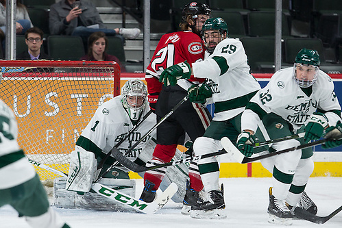 27 Jan 17: The Saint Cloud State University Huskies play against the Bemidji State University Beavers in a quarterfinal game of the North Star College Cup at the Xcel Energy Center in St. Paul, MN. (Jim Rosvold)