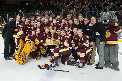 The Bulldogs are the 2017 North Star College Cup Champions. 28 Jan 17: The University of Minnesota Duluth Bulldogs play against the St. Cloud State University Huskies in the Championship game of the North Star College Cup at the Xcel Energy Center in St. Paul, MN. (Jim Rosvold)