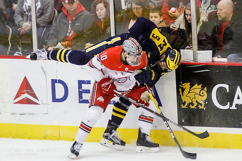 FEB 25, 2017: John Wiitala (OSU - 10), Griffin Luce (UM - 5).  The #12 Ohio State Buckeyes get shut out 1-0 by the University of Michigan Wolverines at the Schottenstein Center in Columbus, OH. (Rachel Lewis)