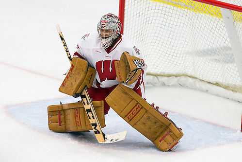 Wisconsin Badgers goalie Ann-Renée Desbiens (30) defends during an NCAA women's hockey game against the Ohio State Buckeyes Friday, October 10, 2014, in Madison, Wis. The Badgers won 6-0. (Photo by David Stluka (David Stluka)