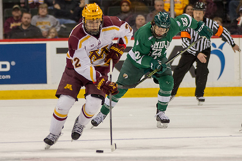 23 Jan 16:  Tyler Sheehy (Minnesota - 22), Charlie O'Connor (Bemidji State - 22). The University of Minnesota Golden Gophers play against the Bemidji State University Beavers in a North Star College Cup semifinal matchup at the Xcel Energy Center in St. Paul, MN. (Jim Rosvold)