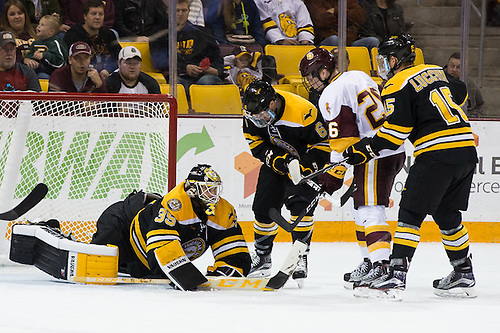 01 Oct 16:  Matt Wintjes (Michigan Tech - 35), Chris Leibinger (Michigan Tech - 6), Jade Miller (Minnesota Duluth - 26), Jake Lucchini (Michigan Tech - 15). The University of Minnesota Duluth Bulldogs host the Michigan Technological University Huskies in a non-conference matchup at Amsoil Arena in Duluth, MN. (Jim Rosvold/USCHO.com)
