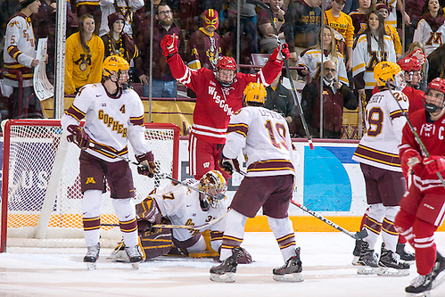 25 Feb 17:  Trent Frederic.  (Wisconsin - 34).  The University of Minnesota Golden Gophers host the University of Wisconsin Badgers in a B1G Conference matchup at Mariucci Arena in Minneapolis, MN (Jim Rosvold/University of Minnesota)