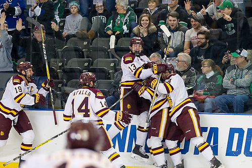 25 Mar 17:  The University of Minnesota Duluth Bulldogs play against the Boston University Terriers in the 2017 NCAA West Regional Final at Scheels Arena in Fargo, ND. (Jim Rosvold)