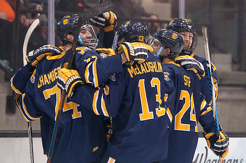 Canisius players celebrate a third period goal in a 3-1 win at RIT (Omar Phillips)