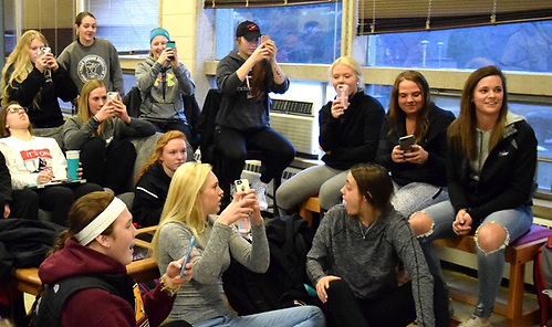 Wisconsin-River Falls players watching the 2017 NCAA tournament selection show. (Nicole Haase)