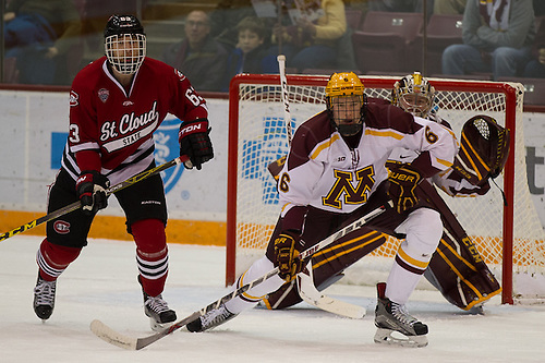 27 Nov 15: Patrick Russell (St. Cloud - 63), Ryan Collins (Minnesota - 6). The University of Minnesota Golden Gophers host the St. Cloud State University Huskies in an non-conference  matchup at Mariucci Arena in Minneapolis, MN. (Jim Rosvold)