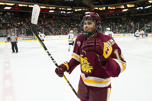 28 Jan 17: Alex Iafallo (Minnesota Duluth - 14). The University of Minnesota Duluth Bulldogs play against the St. Cloud State University Huskies in the Championship game of the North Star College Cup at the Xcel Energy Center in St. Paul, MN. (Jim Rosvold)