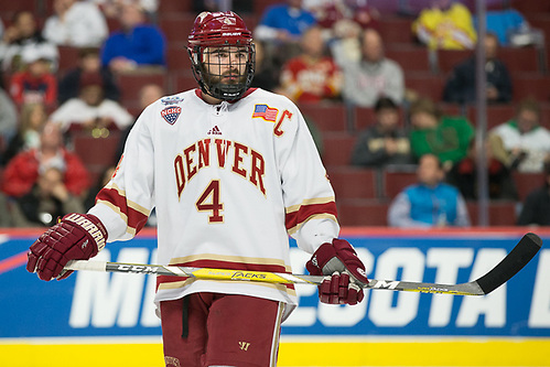 6 Apr 17:  Will Butcher (Denver - 4). The Denver University Pioneers play against the University of Notre Dame Fighting Irish in a national semifinal of the 2017 NCAA Division I Men's Frozen Four at the United Center in Chicago, IL. (Jim Rosvold)