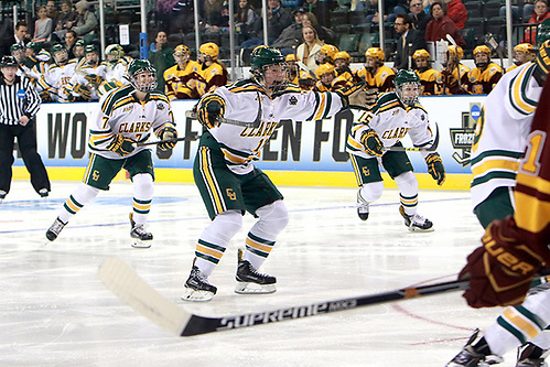 Ella Shelton (center) celebrates a Clarkson goal in the third period of a 2017 NCAA Frozen Four semifinal at Family Arena in St. Charles, Mo. (Don Adams Jr.)