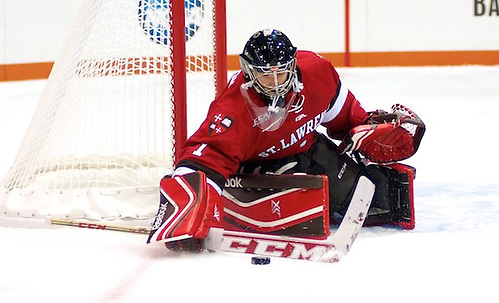 Kyle Hayton of St. Lawrence had 23 saves in a 5-2 loss at RIT (Omar Phillips)