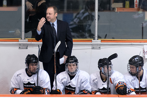 Princeton Head Coach Ron Fogarty (Colgate '95) motions to players prior to a face off. (Shelley M. Szwast)