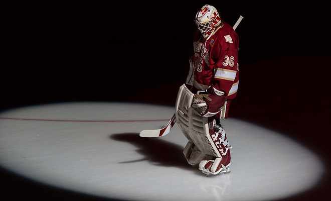 15 March 21 Denver Pioneers and the University of North Dakota meet in the third place game National Collegiate Hockey Conference Tournament match-up at the Target Center in Minneapolis,Minnesota Tanner Jaillet  (Denver-36) (Bradley K. Olson)