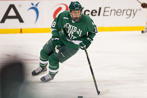 23 Jan 16:  Brendan Harms  (Bemidji State - 18). The University of Minnesota Golden Gophers play against the Bemidji State University Beavers in a North Star College Cup semifinal matchup at the Xcel Energy Center in St. Paul, MN. (Jim Rosvold)