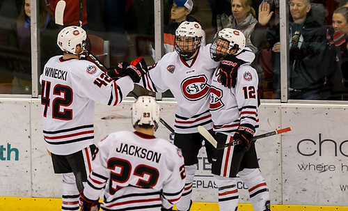 Judd Peterson (SCSU-18) Jack Ahcan (SCSU-12)  Blake Winiecki (SCSU-42) 2017 Nov. 4 The St.Cloud State University Huskies host the University of Minnesota Duluth Bulldogs in a NCHC matchup at the Herb Brooks National Hockey Center in St. Cloud, MN (Bradley K. Olson)