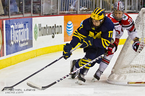 2015 FEB 20: Tony Calderone (UM - 17), Sam Jardine (OSU - 21)   The Ohio State Buckeyes beat the University of Michigan Wolverines 5-3 at Value City Arena in Columbus, OH. (©Rachel Lewis)