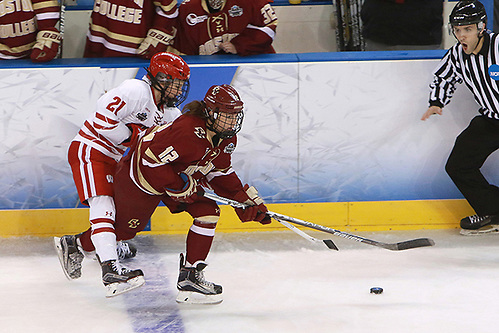 Baylee Wellhausen (Wisconsin-21) and Kenzie Kent (Boston College-12) in a 2017 NCAA Frozen Four semifinal at Family Arena in St. Charles, Mo. (Don Adams Jr.)