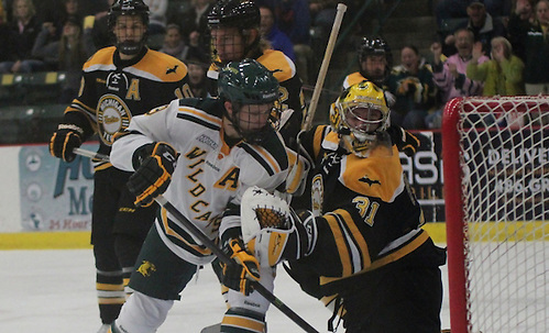 Northern Michigan University junior forward Reed Seckel (9) watches the shot of senior forward Stephan Vigier (not pictured) trickle past Michigan Tech goaltender Pheonix Copley during the first period on Friday, Oct. 25, 2013 at the Berry Events Center in Marquette. Vigier was credited with the goal and Seckel an assists. (Photo by Adelle Whitefoot) (Adelle Whitefoot)