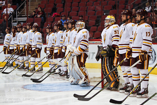 2016Jan10: The UConn Huskies shut out the Arizona State Sun Devils 3-0 in the Consolation Game of the inaugural Desert Hockey Classic at Gila River Arena in Glendale, AZ. (©Rachel Lewis)