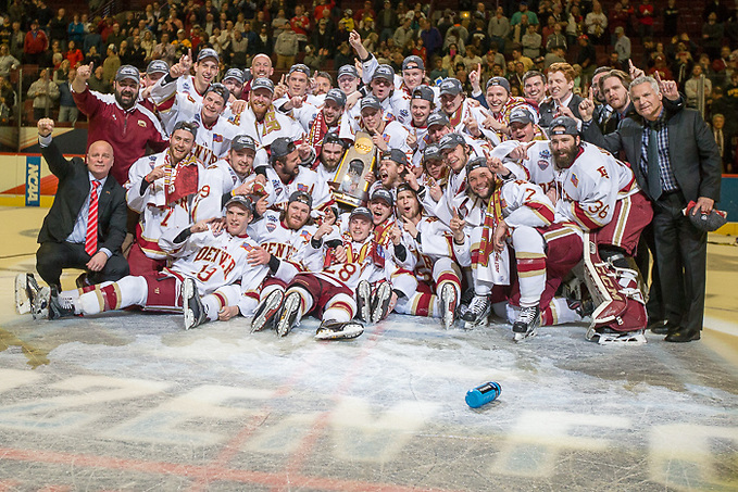 8 Apr 17: The Denver University Pioneers play against the University of Minnesota Duluth Bulldogs in the National Championship game of the 2017 NCAA Men's Division I Frozen Four at the United Center in Chicago, IL. (Jim Rosvold)
