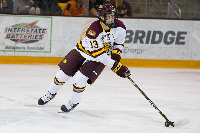 6 Oct 17: Joey Anderson (Minnesota Duluth - 13). The University of Minnesota Duluth Bulldogs host the University of Minnesota Golden Gophers in the 2017 Icebreaker Tournament at Amsoil Arena in Duluth, MN. (Jim Rosvold/USCHO.com)
