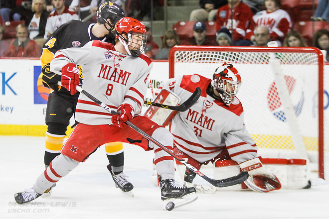 NOV 4, 2017: Chaz Switzer (MIA - 8). The Miami RedHawks lose to the Colorado College Tigers 2-1 Satuday, November 4, 2017 at Steve Cady Arena in Oxford, OH. (Rachel Lewis/©Rachel Lewis)