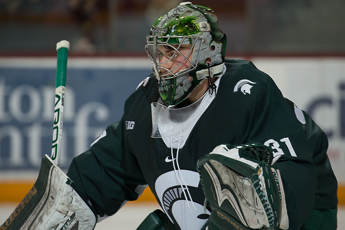 4 Nov 17: The University of Minnesota Golden Gophers host the Michigan State University Spartans in a B1G matchup at 3M Arena at Mariucci in Minneapolis, MN. (Jim Rosvold/University of Minnesota)