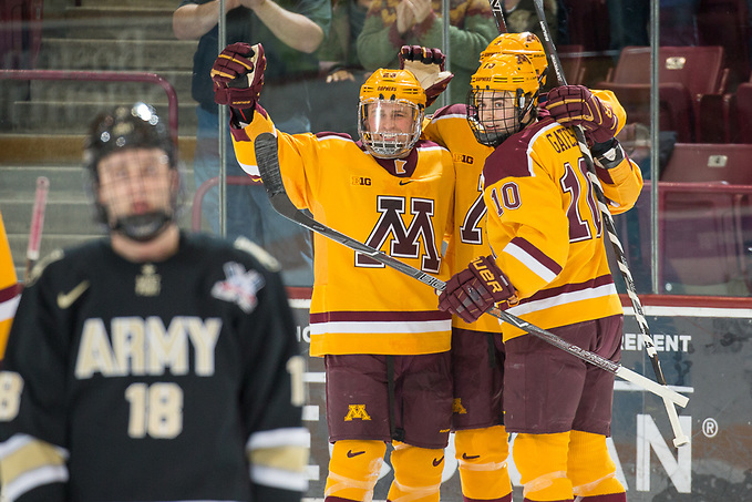 30 Dec 17:  The University of Minnesota Golden Gophers host the Army West Point Black Knights in a non-conference matchup at 3M Arena at Mariucci in Minneapolis, MN. (Jim Rosvold/USCHO.com)