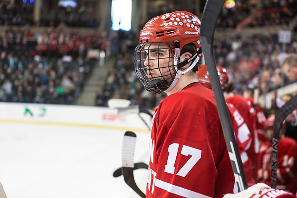 Dante Fabbro (Boston University-17) 25 March 17 Boston University and University of Minnesota Duluth meet in the NCAA West Region Championship game at Scheels Arena Fargo, ND (Bradley K. Olson)