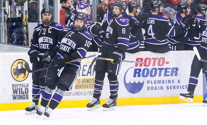 Neb Knutson (MSU-10) 2018 Jan. 12 The St.Cloud State University Huskies host Mankato State University n a non conference matchup at the Herb Brooks National Hockey Center in St. Cloud, MN (Bradley K. Olson)