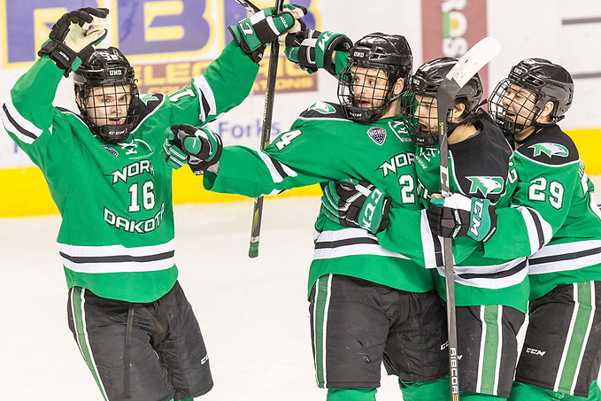 Grant Mismash (North Dakota-16) Christian Wolanin (North Dakota-24) Jordan Kawaguchi (North Dakota-29) Shane Gersich (North Dakota-19) 2018 Jan. 27 The University of North Dakota hosts Denver University in a NCHC matchup at the Ralph Engelstad Arena in Grand Forks, ND (Bradley K. Olson)