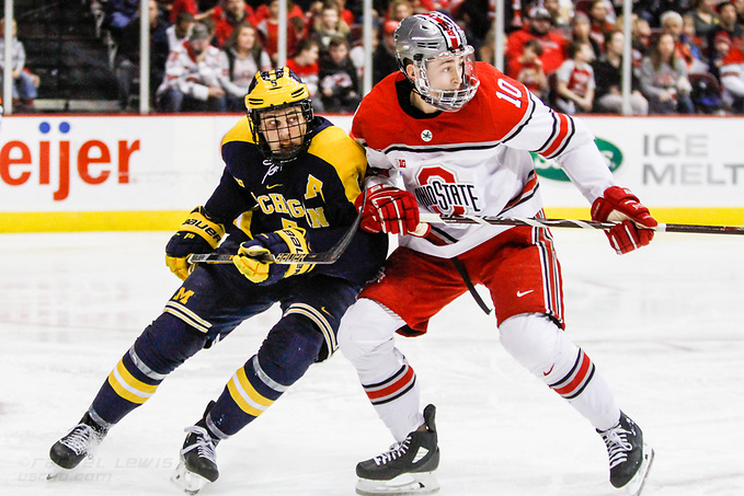 JAN 26, 2018: Griffin Luce (Michigan - 5), John Wiitala (OSU - 10) The #6 Ohio State Buckeyes shut out the #20 Michigan Wolverines 4-0 at Value City Arena in Columbus, OH. (Rachel Lewis - USCHO) (Rachel Lewis/©Rachel Lewis)