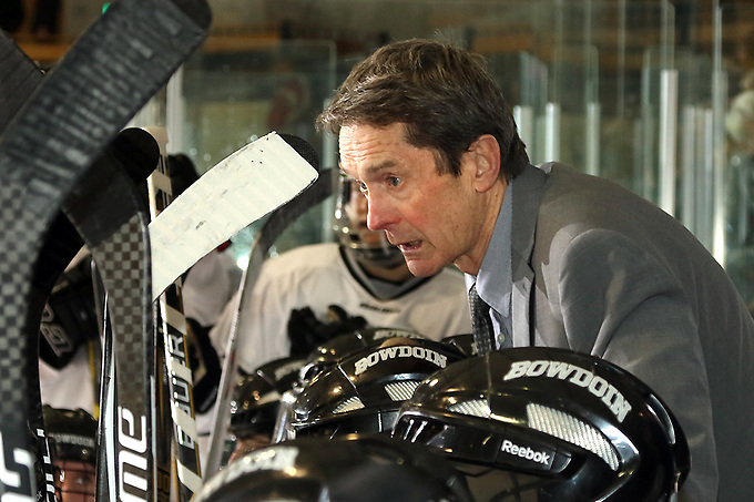 Terry Meagher's final regular-season home game at Sid Watson Arena was a gem as Bowdoin downed Trinity 2-1 last Saturday night. (Brian Beard/Creative Images Photography)