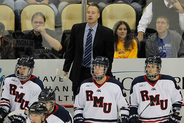 Robert Morris coach Derek Schooley. RMU mens hockey v Air Force at Consol Energy Center. Photo by Jason Cohn (JASON COHN/RMU ASSIGNED)