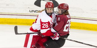 The Boston University Terriers defeated the Harvard University Crimson 3-2 in the opening game of the 2018 Beanpot at Kelley Rink in Conte Forum in Chestnut Hill, Massachusetts. (Melissa Wade)