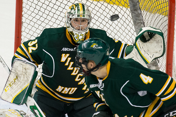 08 Dec 17: Mathias Israelsson (Northern Michigan - 32). The Bemidji State University Beavers host the Northern Michigan University Wildcats in a WCHA Conference matchup at the Sanford Center in Bemidji, MN. (Jim Rosvold)