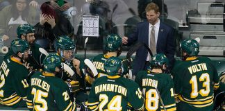 08 Dec 17: Grant Potulny (Northern Michigan - Head Coach). The Bemidji State University Beavers host the Northern Michigan University Wildcats in a WCHA Conference matchup at the Sanford Center in Bemidji, MN. (Jim Rosvold)