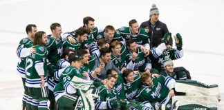 Mercyhurst players celebrate a win over RIT and clinch the Atlantic Hockey regular season title (2018 Omar Phillips)