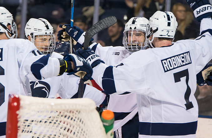 Penn State players celebrate a goal by Trevor Hamilton (11 - Penn State) (Omar Phillips 2017)