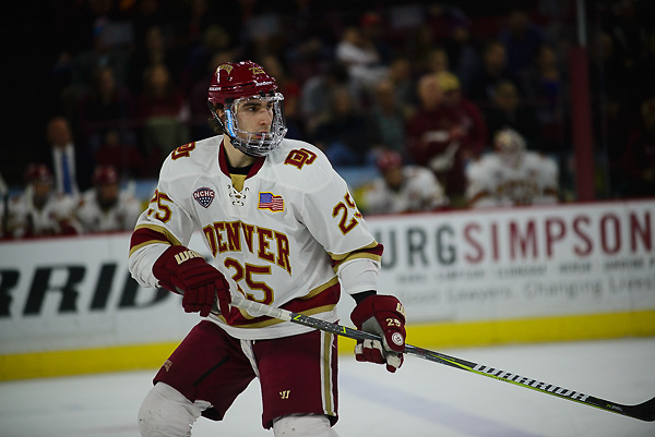 Blake Hillman of Denver. Miami at Denver at Magness Arena, March 3, 2018. (Candace Horgan)