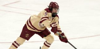 Daryl Watts (BC - 9) - The Boston College Eagles defeated the visiting University of Vermont Catamounts 2-1 on Saturday, January 20, 2017, at Kelley Rink in Conte Forum in Chestnut Hill, Massachusetts. (Melissa Wade)