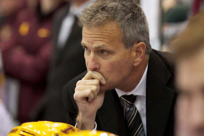 25 Oct 13: Don Lucia (Head Coach) The University of Minnesota Golden Gophers host the Boston College Eagles in a non-conference matchup at Maruicci Arena in Minneapolis, MN (Jim Rosvold)