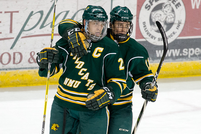 08 Dec 17: Justin Baudry (Bemidji State - 29), Charlie Combs (Bemidji State - 11). The Bemidji State University Beavers host the Northern Michigan University Wildcats in a WCHA Conference matchup at the Sanford Center in Bemidji, MN. (Jim Rosvold)