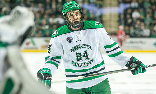 Christian Wolanin (North Dakota-24) 2017 Nov. 11 The University of North Dakota hosts Miami of Ohio in a NCHC matchup at the Ralph Engelstad Arena in Grand Forks, ND (Bradley K. Olson)