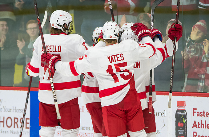 Cornell players celebrate a first period goal in a 4-3 win vs Union (2018 Omar Phillips)