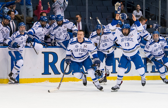 Air Force players react after winning the Atlantic Hockey tournament (2018 Omar Phillips)