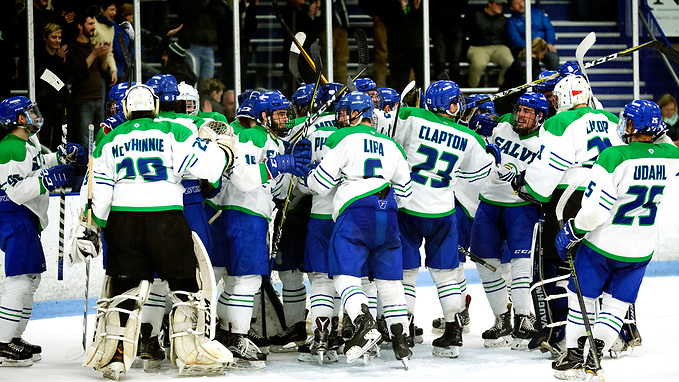 Salve Regina celebrates advancing to the Frozen Four (Rob McGuinness)