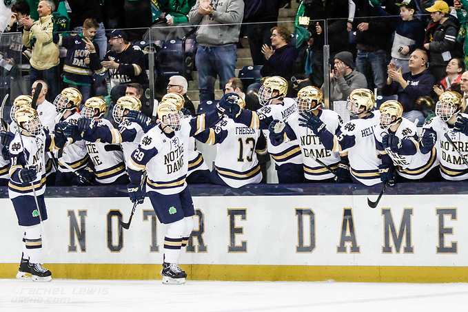 17 MAR 2018: Bo Brauer (ND - 29), Jake Evans (ND - 18). The University of Notre Dame Fighting Irish host the Ohio State University in the 2018 B1G Championship at Compton Family Ice Arena in South Bend, IN. (Rachel Lewis - USCHO) (Rachel Lewis/©Rachel Lewis)