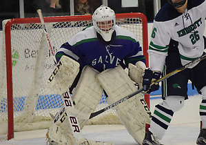 Freshman Blake Wojtala made 43 saves, completing a playoff shutout hat trick in backing Salve Regina to its first ECAC Northeast title and automatic berth into the NCAA tournament. (Edward Habershaw)
