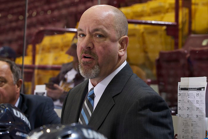 11 Oct 13: New Hampshire Associate Head Coach Scott Borek. The University of New Hampshire Wildcats play against the Clarkson University Knights in the Icebreaker Tournament at Mariucci Arena in Minneapolis, MN (Jim Rosvold)